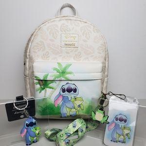 Loungefly Disney Stitch Frog Mini Backpack Bundle